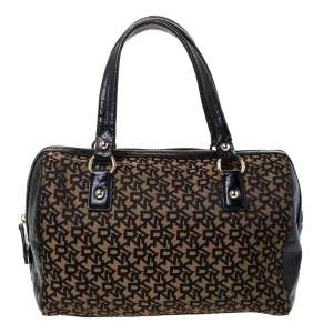 Dkny Brown/Black Canvas and Croc Embossed Leather Boston Bag