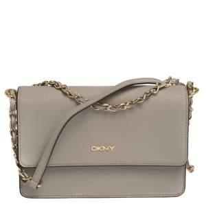 Dkny Grey Leather Chain Shoulder Bag