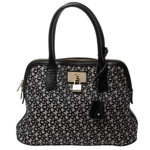 Dkny Grey/Black Monogram Canvas and Leather Dome Satchel