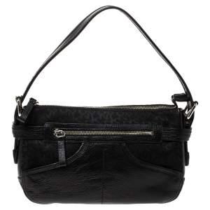 DKNY Black Canvas and Leather Shoulder Bag