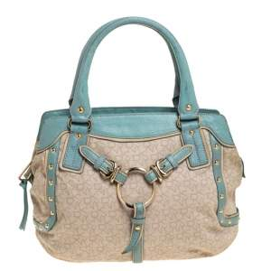 DKNY Beige/Blue Monogram Canvas and Leather Satchel