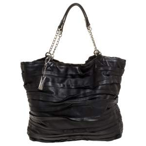 Dkny Black Ruffle Leather Chain Tote