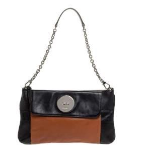 DKNY Black/Tan Leather Front Pocket Shoulder Bag
