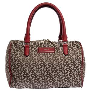 Dkny Beige/Red Signature Canvas and Leather Boston Bag