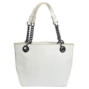 حقيبة يد دي كيه إن واي سلسلة جلد لامع أبيض