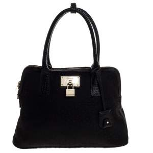 DKNY Black Canvas and Leather Satchel