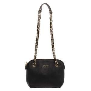 Dkny Black Leather Camille Dome Shoulder Bag