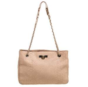 Dkny Peach Python Embossed Leather Chain Tote