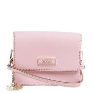 Dkny Pink Leather Mini Flap Crossbody Bag