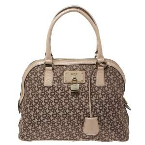 Dkny Beige/Brown Signature Canvas and Leather Satchel