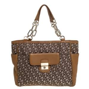 Dkny Beige/Tan Signature Canvas and Leather Tote