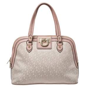 Dkny Pink/Beige Signature Canvas and Leather Dome Satchel