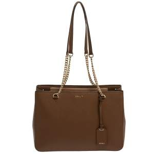 Dkny Brown Leather Bryant Park Chain Tote