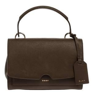 Dkny Brown Leather Bryant Park Top Handle Bag