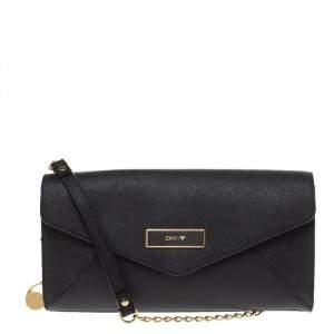 Dkny Black Leather Envelope Shoulder Bag