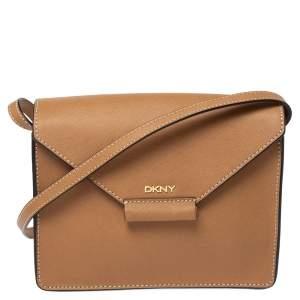 Dkny Tan Saffiano Leather Envelope Flap Shoulder Bag