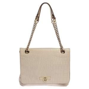 Dkny White Croc Embossed Leather Flap Shoulder Bag