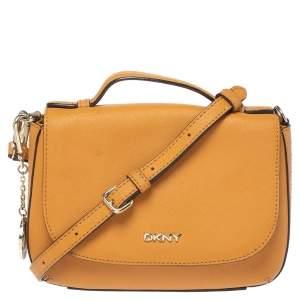 Dkny Mustard Leather Bryant Park Crossbody Bag