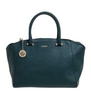 DKNY Green Leather Chelsea Top Zip Satchel