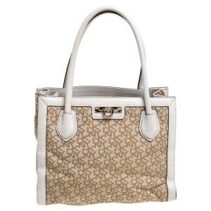 DKNY Beige Signature Canvas and Leather Zip Tote
