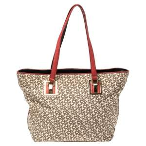 Dkny Beige/Red Signature Canvas and Leather Zip Tote