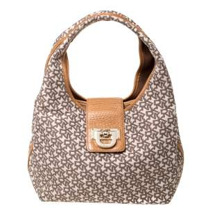 Dkny Beige/Brown Signature Canvas and Leather Shoulder Bag