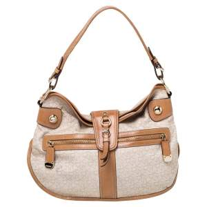 Dkny Beige/Tan Signature Canvas and Leather Hobo