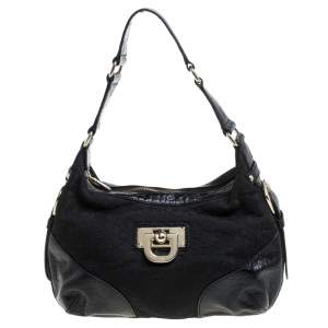 Dkny Black Signature Canvas and Croc Embossed Leather Buckle Hobo