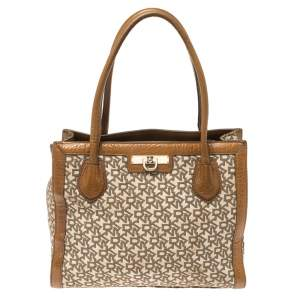DKNY Brown Signature Canvas and Leather Zip Tote