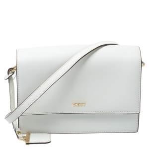 Dkny White Leather Bryant Flap Shoulder Bag