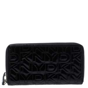 Dkny Black Patent Leather Zip Around Continental Wallet