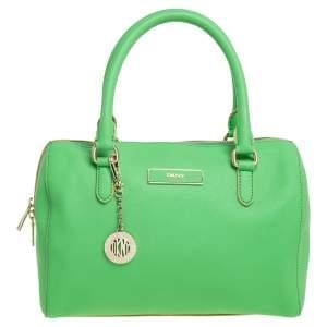 DKNY Green Saffiano Leather Boston Bag