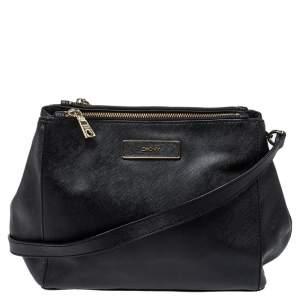 Dkny Black Leather Double Zip Shoulder Bag