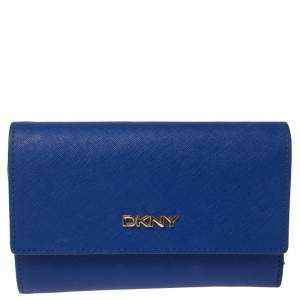 Dkny Blue Leather Trifold Wallet