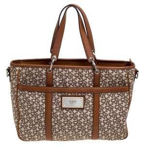 DKNY Brown/Beige Signature Canvas and Leather Front Pocket Zip Tote