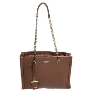 Dkny Brown Pebbled Leather Chain Tote