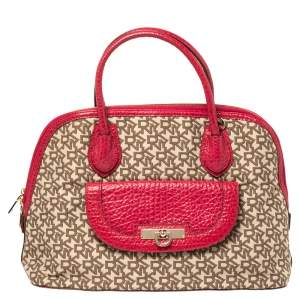 Dkny Beige/Pink Monogram Canvas and Leather Dome Satchel