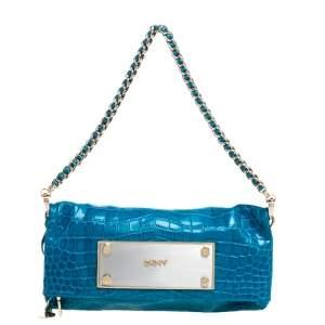 Dkny Blue Croc Embossed Leather Foldover Shoulder Bag