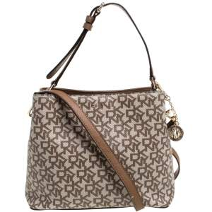 Dkny Beige/Brown Signature Coated Canvas and Leather Bryant Bucket Bag