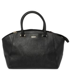 Dkny Black Leather Zip Dome Satchel