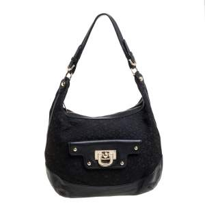 Dkny Black Signature Canvas and Leather Hobo