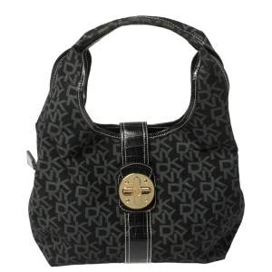 Dkny Black/Grey Signature Canvas and Leather Hobo