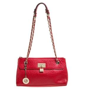 DKNY Red Textured Leather Lock Chain Shoulder Bag