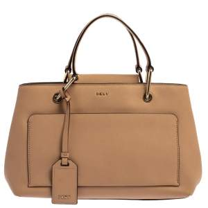 DKNY Beige Leather Front Pocket Tote