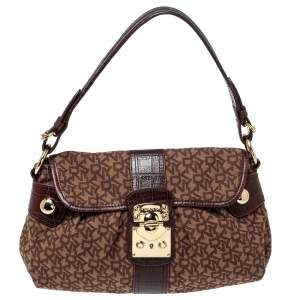 Dkny Brown Signature Canvas and Croc Embossed Leather Push Lock Flap Hobo