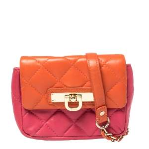 Dkny Orange/Pink Quilted Leather Small Crossbody Bag