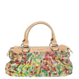Dkny Multicolor Canvas Embroidered Tote