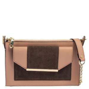 Dkny Pink/Brown Leather and Suede Bryant Park Saffia Crossbody Bag