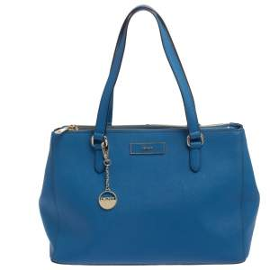 Dkny Blue Leather Double Zip Tote