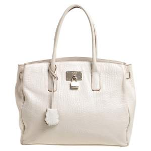 DKNY Off White Leather Shopper Tote